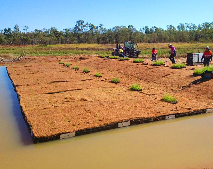 Floating Treatment Wetlands, stormwater installation, Dysart, Queensland
